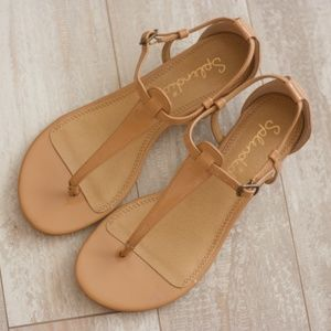 Splendid Nude T-strap Sandals with Wedge